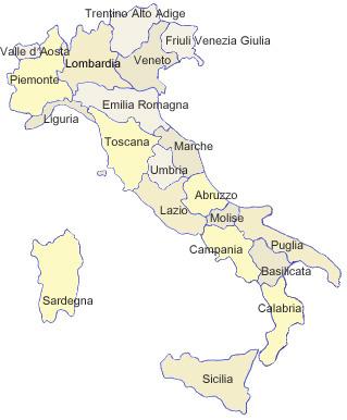 Cursos de Italiano en Italia  mapa de Italia regiones y ciudades